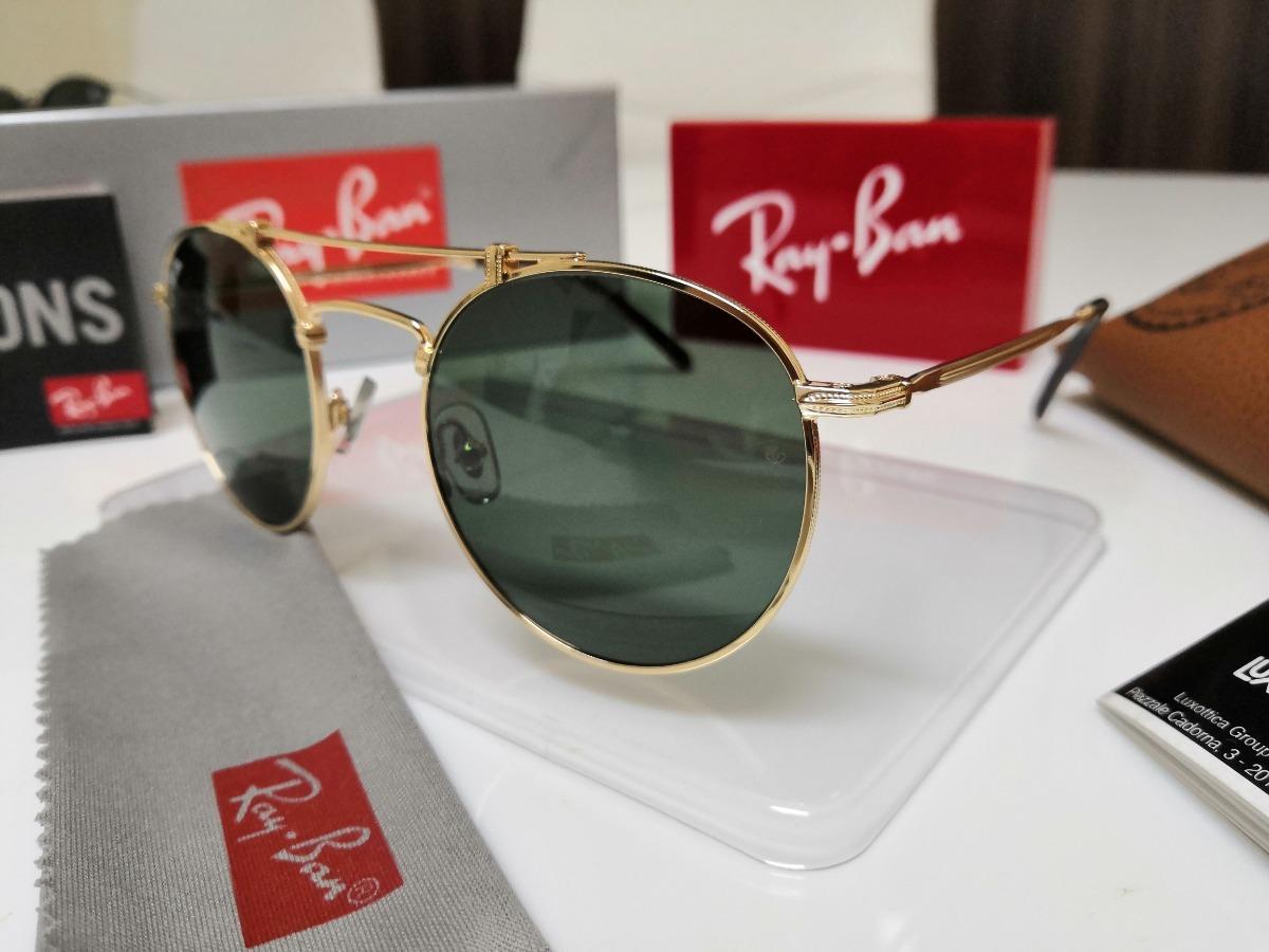 cec0e9cffb óculos sol ray ban round titanium rb8147 verde 9136 58 japan. Carregando  zoom.