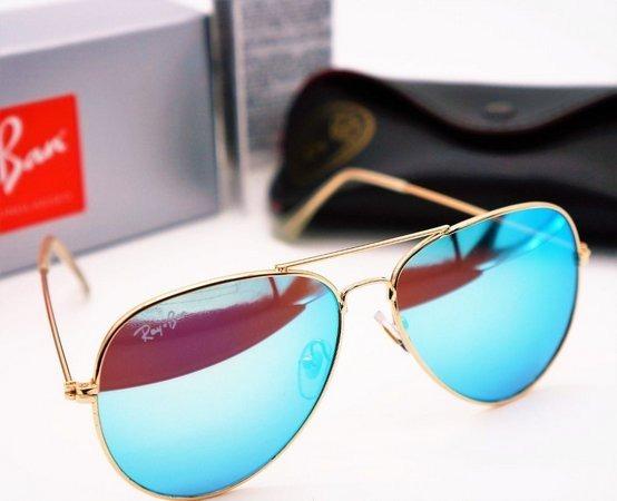 f10665b569c23 Oculos Sol Rayban Aviador Lente Cristal Azul Água Espelhado - R  120 ...