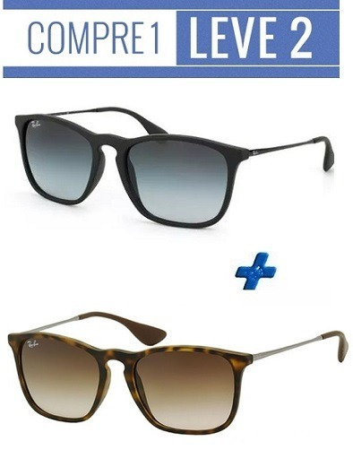 Oculos Sol Rayban Chris Preto + Tartaruga   Compre 1 Leve 2 - R  98 ... 59f5811706