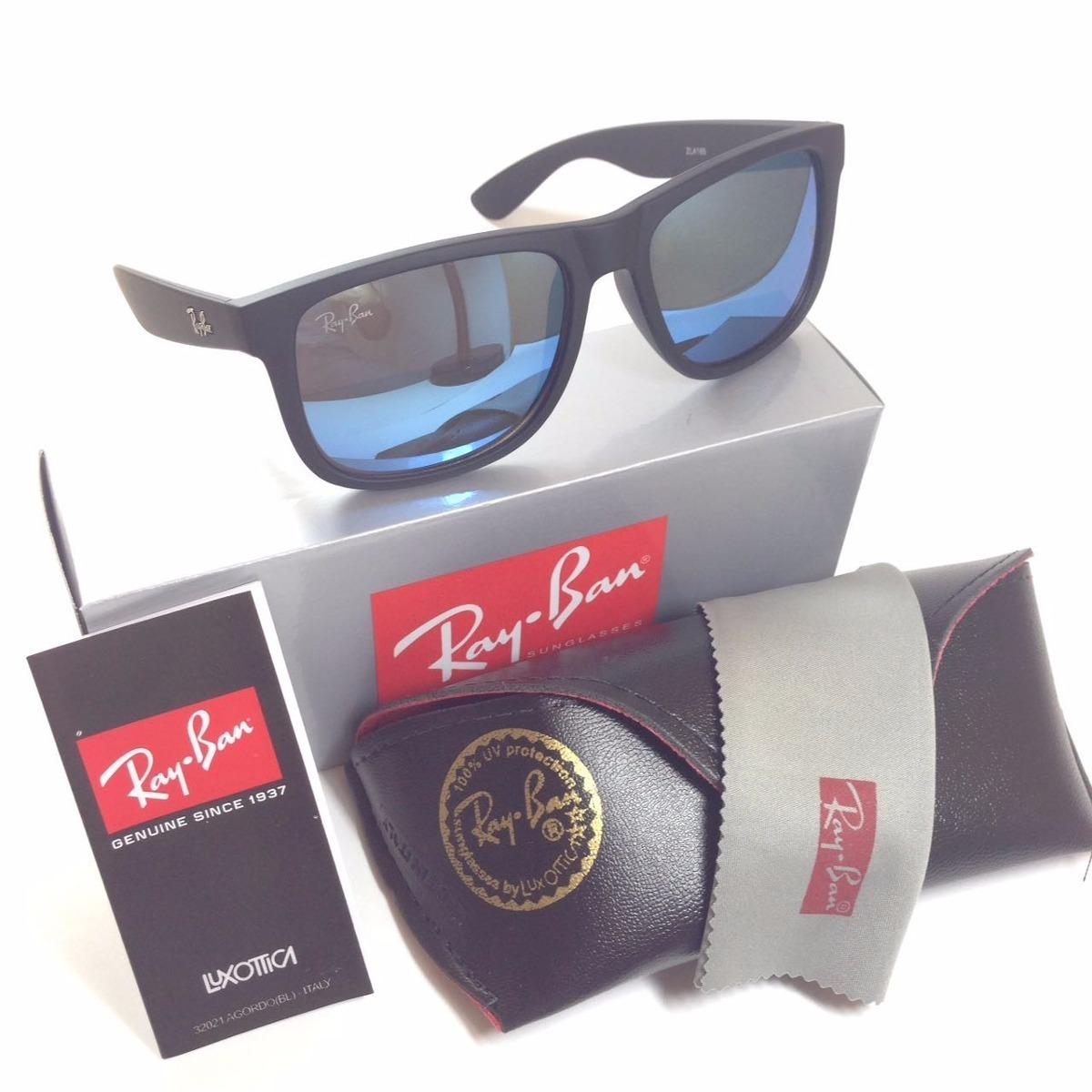 3d9935bbbf4d6 oculos sol rayban justin 100% polarizado azul espelhado. Carregando zoom.