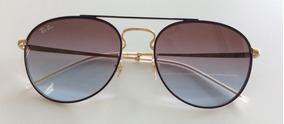 eb42de550 Óculos Sol Rayban Rb3589 9059/i8 Gold Top On Violet Original