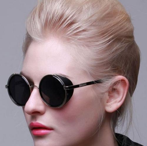 óculos sol redondo circular steampunk vintage retrô uv400