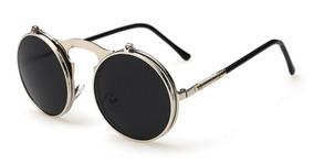 1376f5844 Óculos Sol Redondo Circular Vintage Lente Dupla High Quality