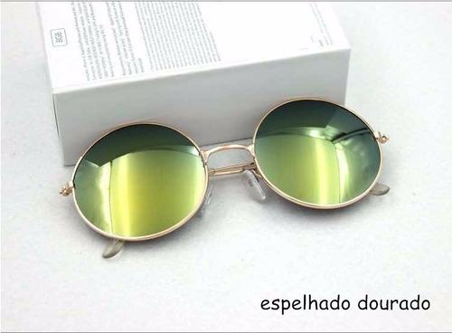 óculos sol redondo espelhado feminino unissex proteção uv400