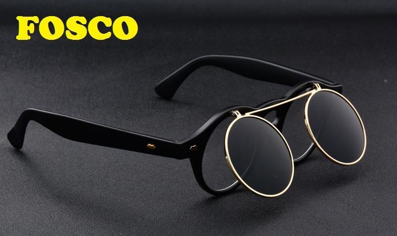 Óculos Sol Redondo Lente Armação Dupla Flip Proteção Uv400 - R  89 ... 1aa5f5a1a9