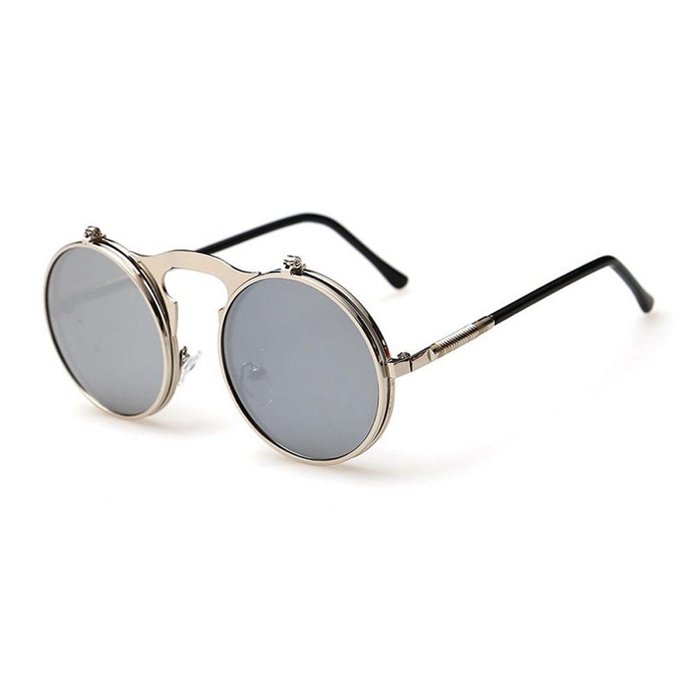 5e6d36035 Óculos Sol Redondo Prata Espelho Steampunk Lente Dupla Uv400 - R  79 ...