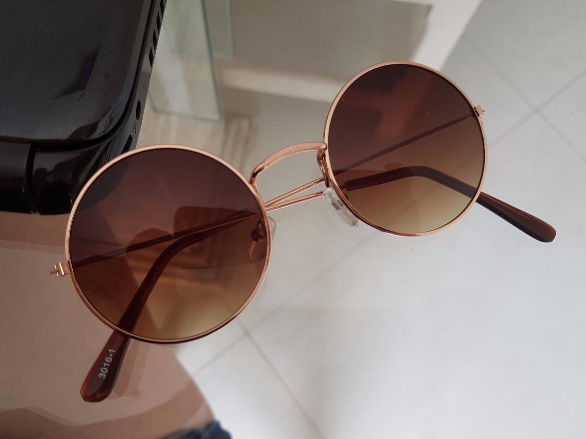 233d9668bbe1d Oculos Sol Redondo Round Marrom Degrade Com Dourado - R  30,23 em ...