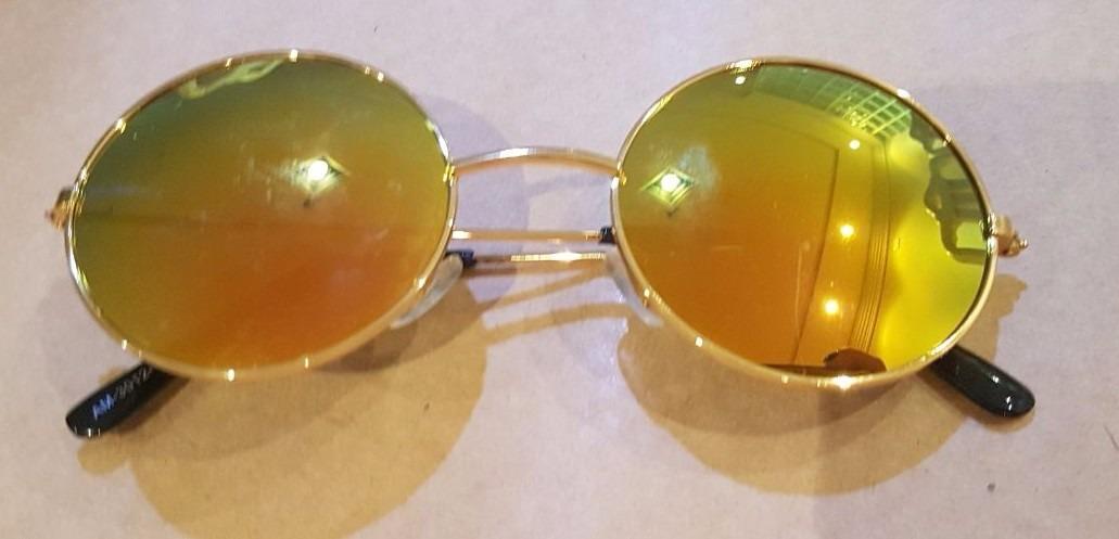 7a285dbf1d0db Óculos Sol Redondo Roundy Amarelo Lente Espelhada + Saquinho - R  18 ...
