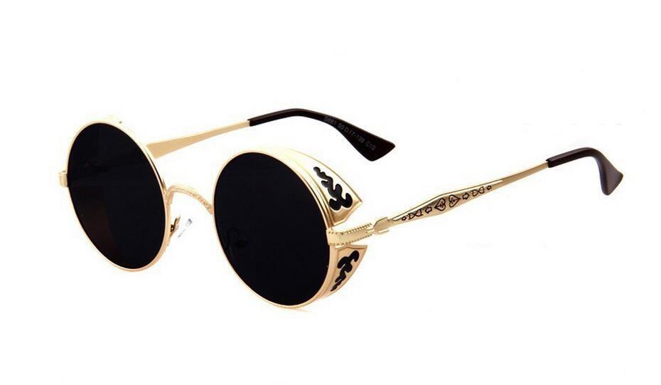 5235ec304 óculos sol redondo steampunk entalhes vintage dourado preto. Carregando  zoom.
