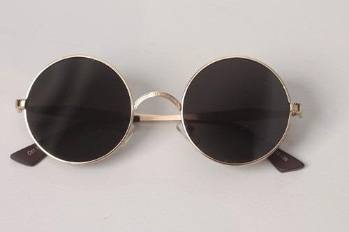 18bb2ede6 Óculos Sol Redondo Steampunk Entalhes Vintage Dourado Preto - R$ 99 ...