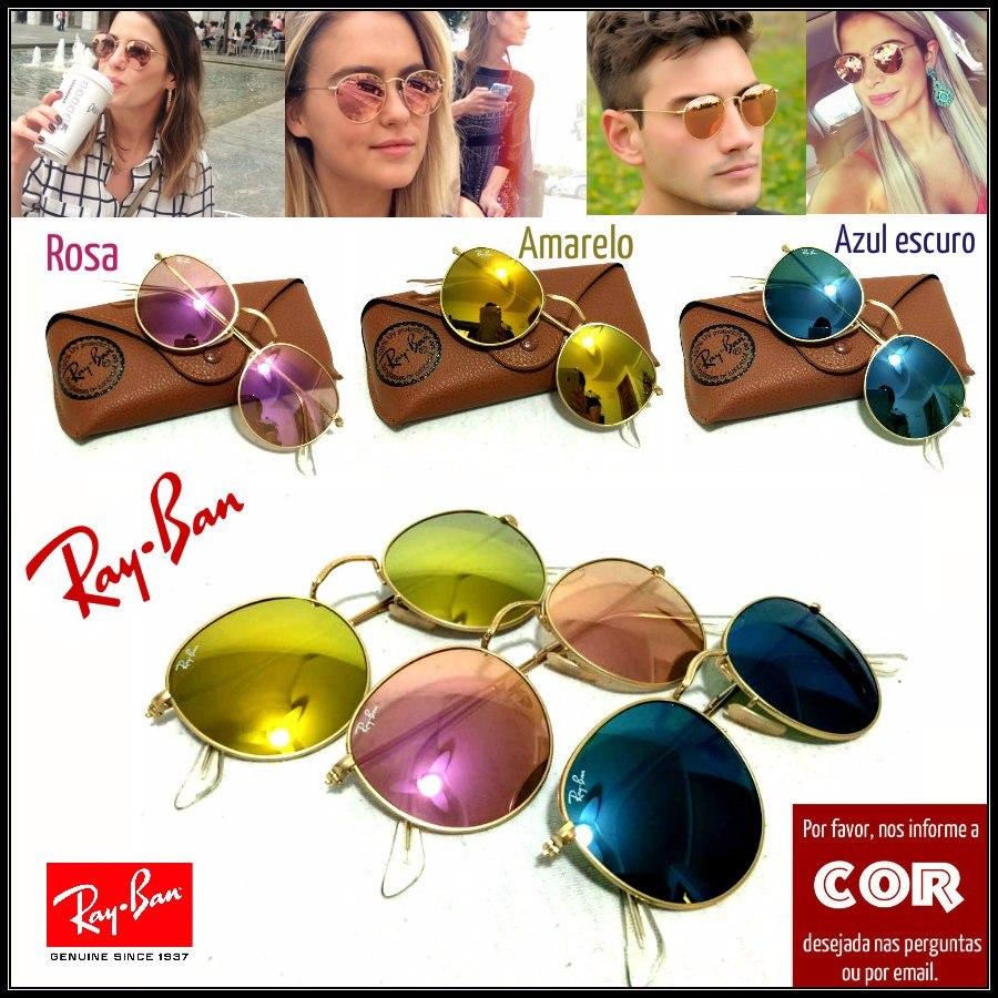 a9f935b1bbd36 kit 6 oculos de sol r. b. round redondo lentes coloridas · oculos sol round.  Carregando zoom.
