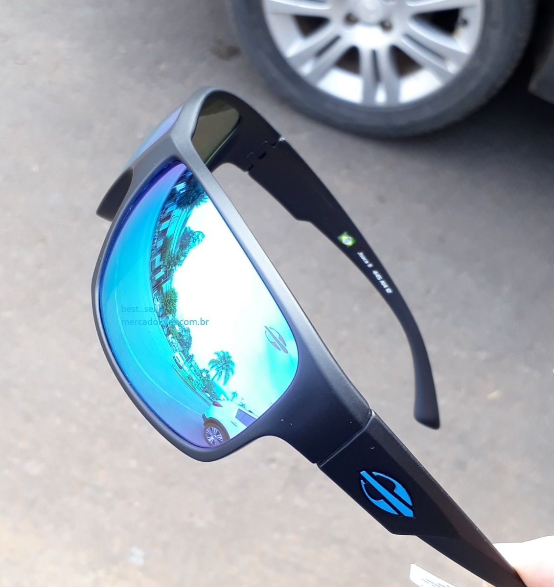 óculos sol solar mormaii joaca 2 preto fosco espelhado azul. Carregando  zoom. 808368f7e7