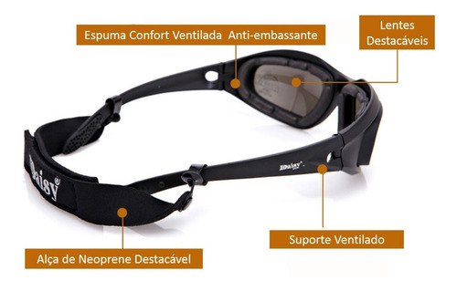 óculos tático daisy airsoft proteção uv anti embaçante