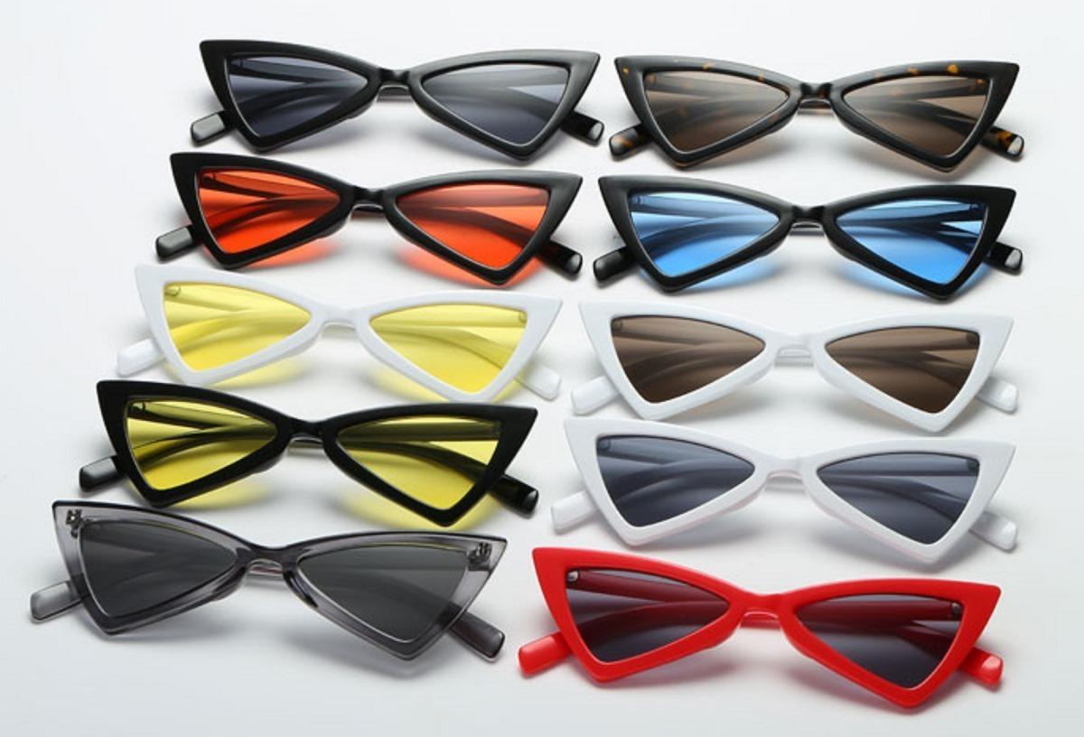 óculos triangular sol lolita escuros proteção uva uvb retrô. Carregando  zoom. 5679b3f83e