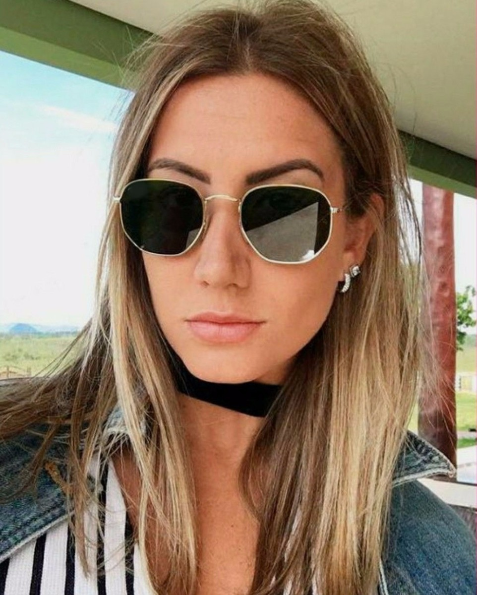 6901177e850ca óculos unissex moda hexagonal luxuoso feminino tendencia. Carregando zoom.