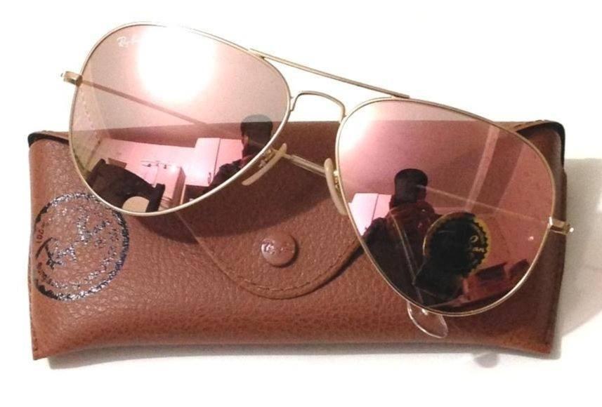 055d2d793 oculos unissex | ray-ban aviador dourado - rosê espelhado. Carregando zoom.