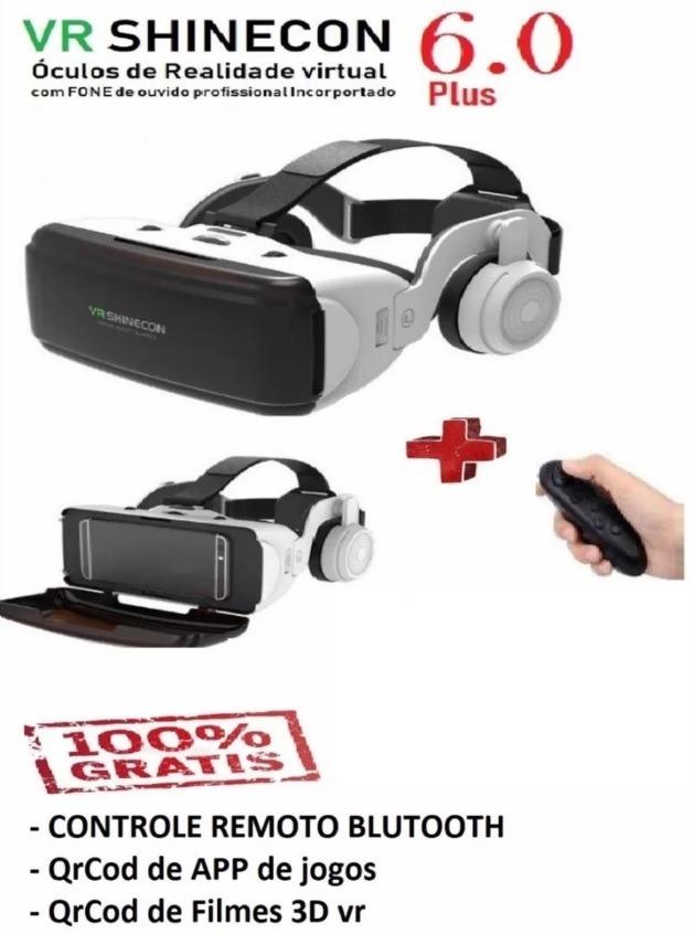 b26b6c6fe8dab Óculos Virtual Shinecon 6plus+controle+qrcod App Jogo,vid3d - R  119 ...