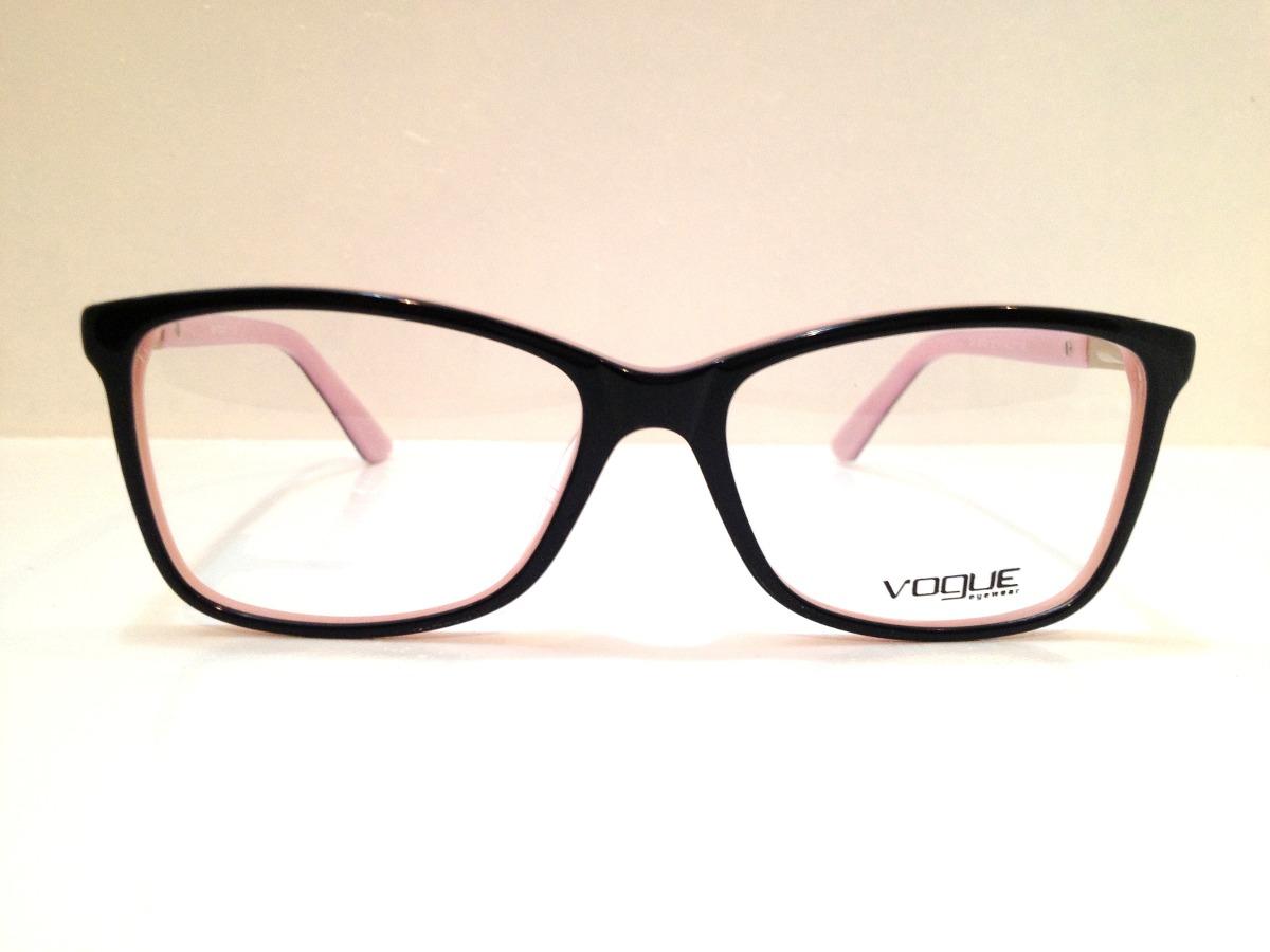 Armação De Óculos Vogue Acetato Preto C  Rosa - R  189,00 em Mercado ... 4baed6610f