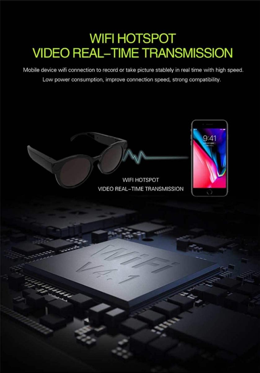 034d598df0de5 óculos wifi espião conecta via wifi com seu celular full hd. Carregando  zoom.
