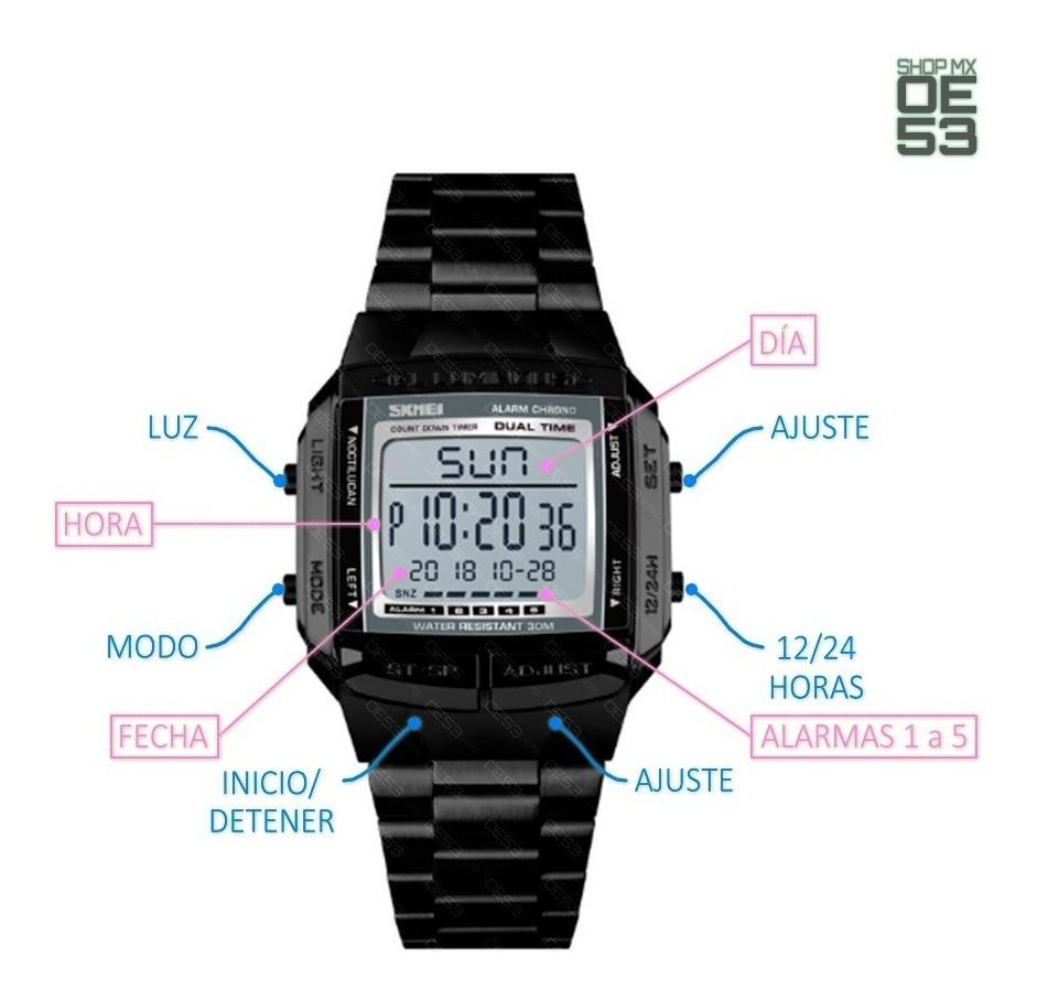 comprar popular d2c12 9c0ec Oe53 Reloj Digital Moderno Resistente Al Agua Acero Cronometro Skmei 1381  30m