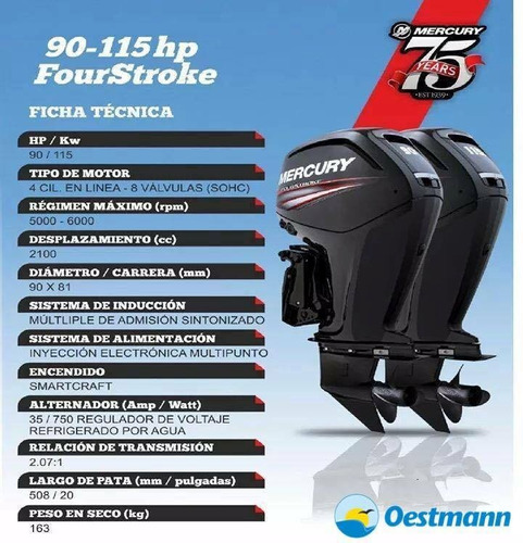 oestmann. regnicoli 630 open c/mercury 115 hp 4t ct new 2017