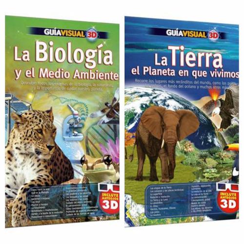 oferta 2 libros guía visual 3d la biología + planeta tierra