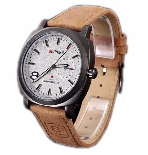 oferta 2 x 49 soles reloj curren correa de cuero artificial