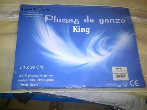 oferta! almohadas king 100% plumas de ganzo 50 x 90 cm