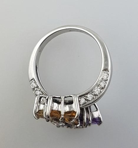 oferta! anillo flor oro blanco diamantes citrino y amatistas