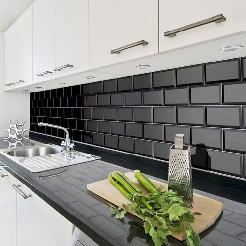 oferta azulejo brick 7.5x15 negro brillante - 1era subway