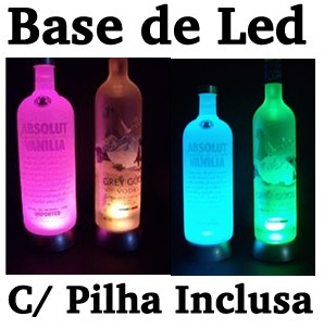 oferta base de led luminosa c/ pilhas - vodka, cristais
