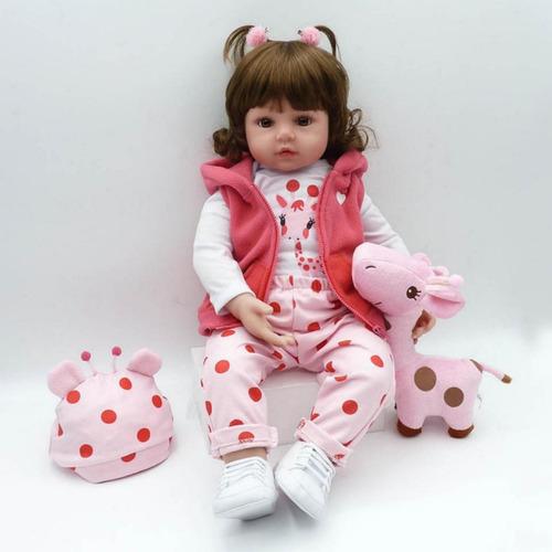 oferta! bebê reborn menina linda barata brinde girafinha m52