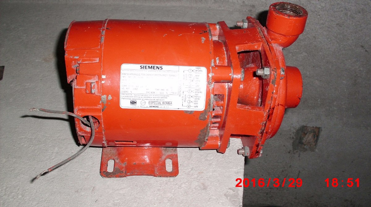 Oferta bomba de agua marca evans motor siemens de 1 2 hp for Bomba de agua siemens