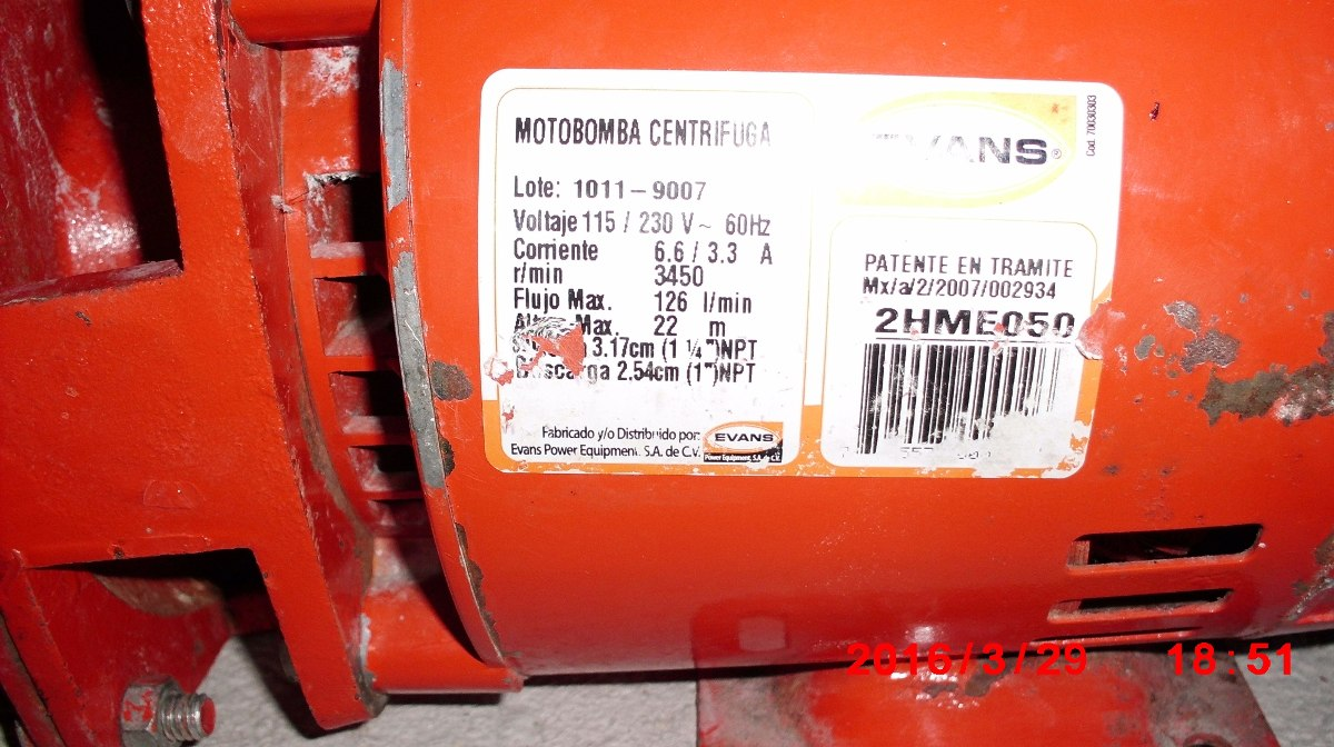 Oferta bomba de agua marca evans motor siemens de 1 2 hp for Marcas de bombas de agua