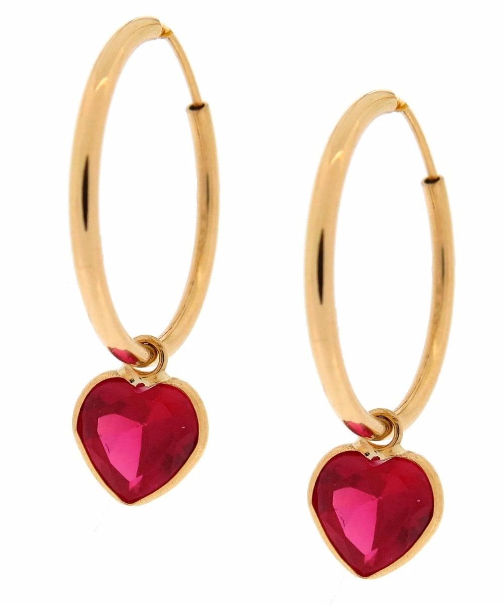 oferta brinco de argola + pingente coração em ouro 18k 750. Carregando zoom. 5b0d0e0270