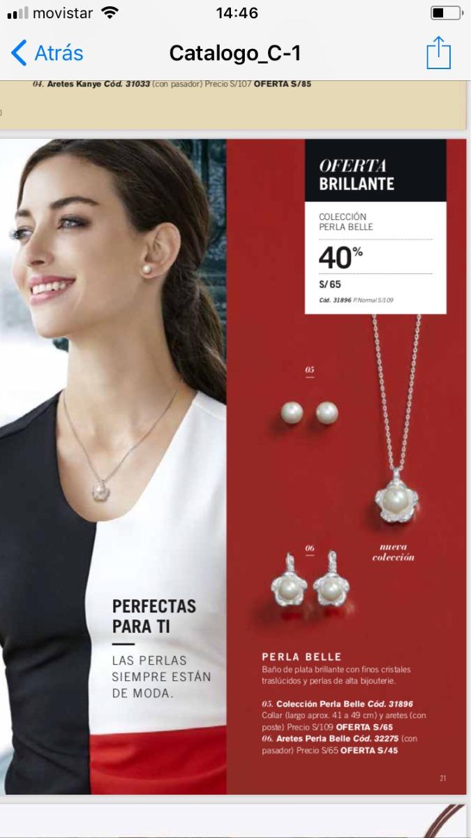 82ec3529f6f6 Oferta Cadena Y Arete Perla Belle De Unique. Nuevo Y Sellado - S  45 ...