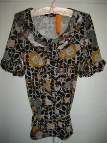 oferta!!! camisola estampada mangas globo años 80.