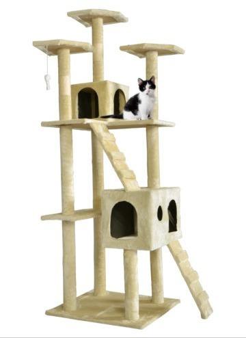 oferta!! casa gatos arbol trepador beige cafe - 3 rascadores