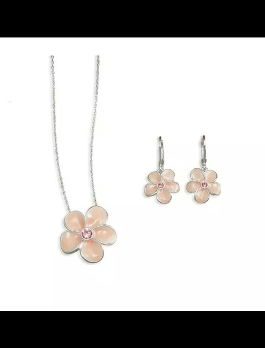 b9c2b694abac oferta collar y aretes unique flor de plata regalo aniversar. Cargando zoom.