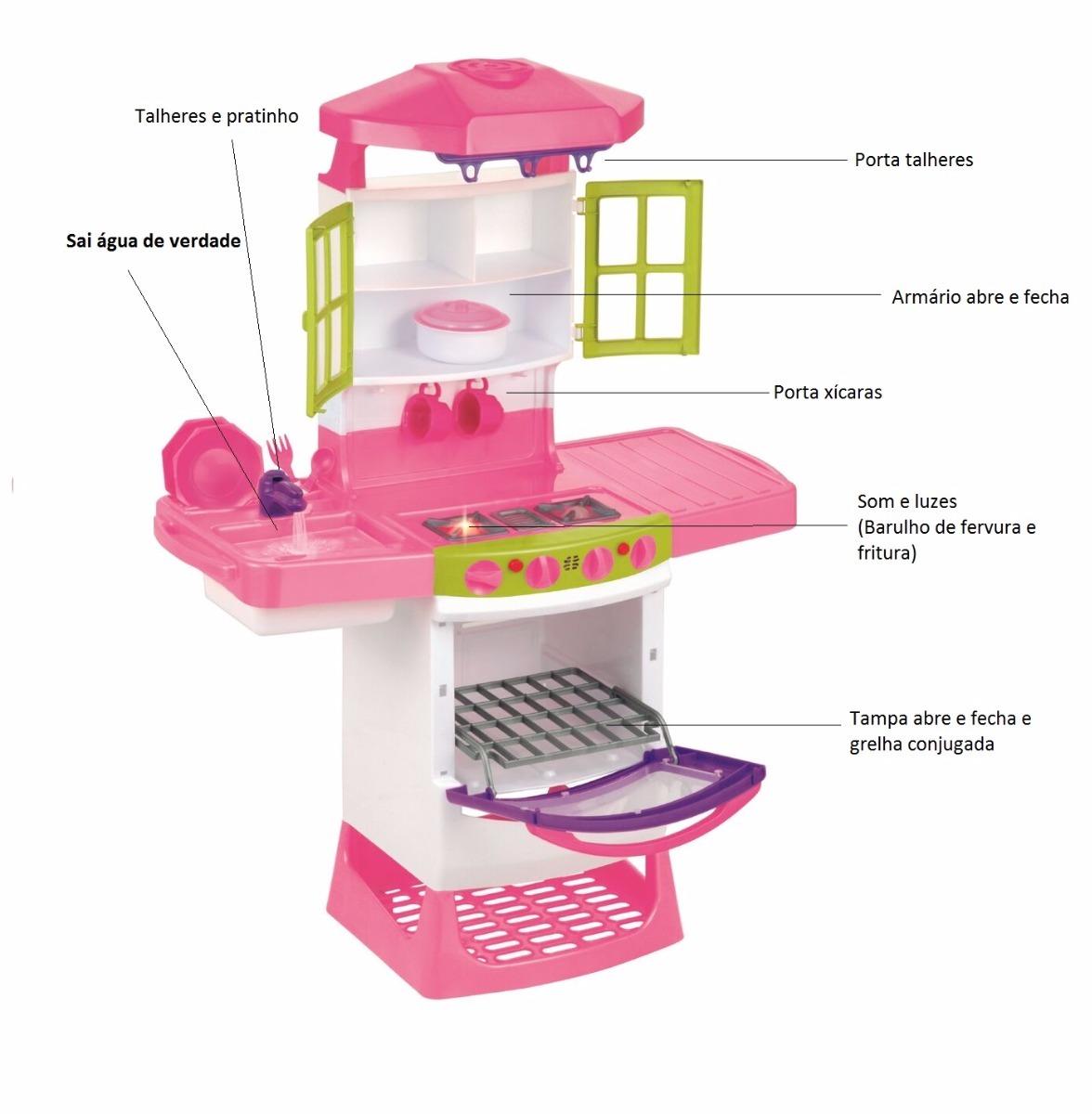 Oferta Cozinha Infantil Completa Sai Gua Geladeira Rosa R