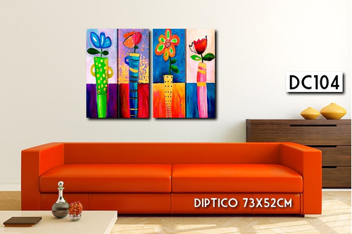 oferta!!! cuadro diptico 73x52cm moderno flores variadas