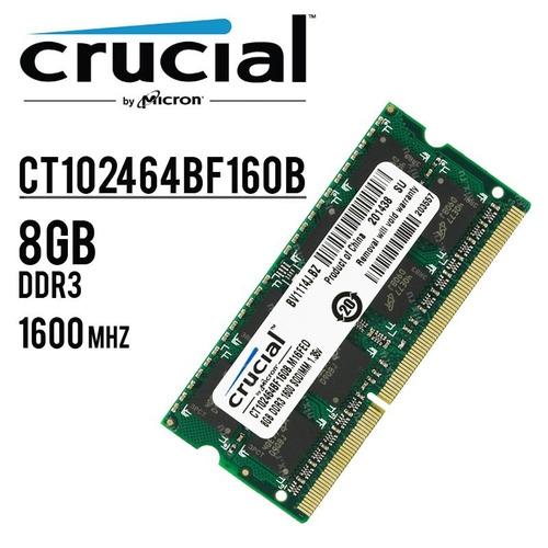 oferta de memoria de laptop 8gb ddr3  marca crucial nuevas