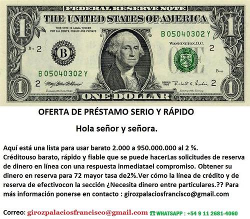 oferta de prestamo,whatsapp: +54 9 11 2681-4060