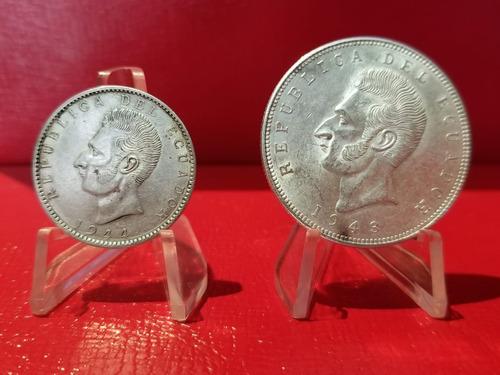 oferta  ecuador 5 sucres y 2 sucres 1943-1944. plata