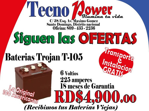 oferta en baterias para inversores - inf. 809-435-2236