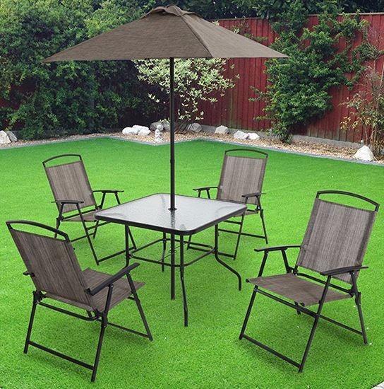 Oferta juego de jard n monaco mesa sillas y paraguas 6p 4 en mercado libre for Juegos de jardin rusticos