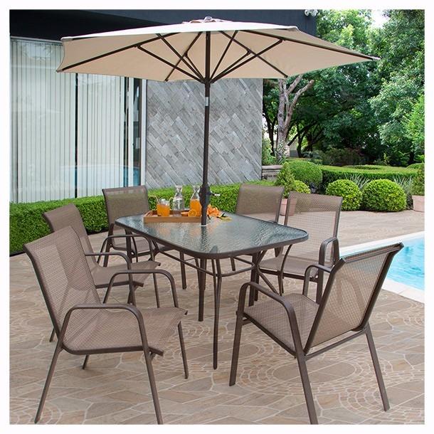 Oferta juego de jard n monaco mesa sillas y paraguas for Mesa y sillas plastico jardin