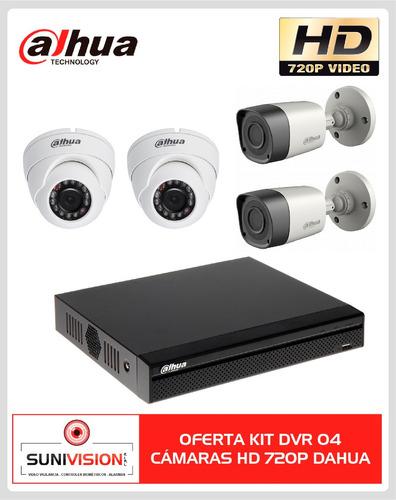 oferta kit dvr 04 cámaras hd 720p dahua p2p cctv