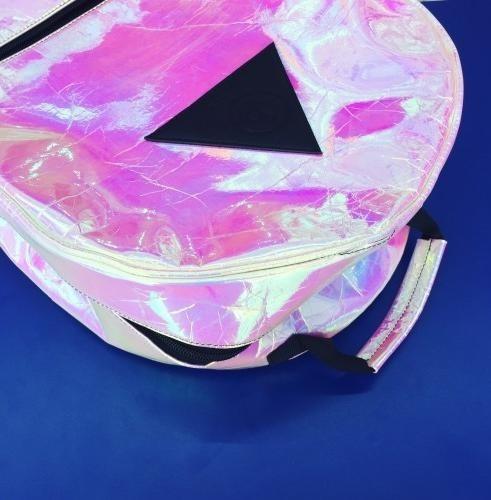 oferta mochila holograma tornasol bubble rosa plata metal