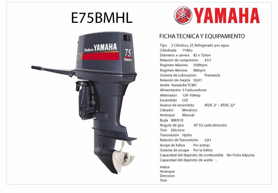 Oferta motor fuera borda yamaha enduro 75 hp u s for Fuera de borda yamaha